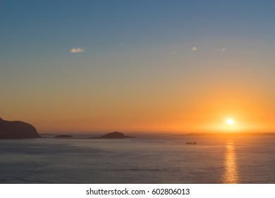 Alesund Region, Norway - View from Mt. Aksla towards the Islands of Giske and Godoya at Sunset