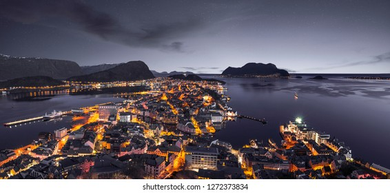 Alesund skyline panorama by night