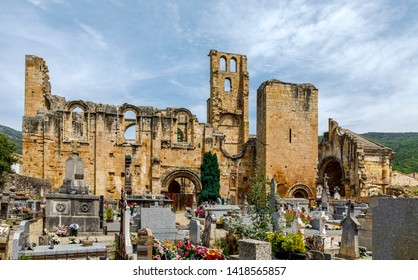 Alet les Bains, France - June 4, 2019: ruins of ninth century Benedictine abbey of Notre Dame in village of Alet les Bains in Aude France