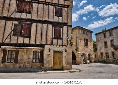 Alet-les-Bains, Aude, France. 07/13/19 The picturesque medieval square with its arcaded buildings, attractive half-timbered houses and ornately carved stone doorways. Nostradamus lived nearby.