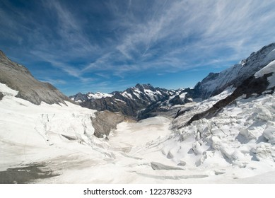 The Aletsch Glacier at Jungfraujoch, Switzerland. Jungfraujoch is an underground railway station situated below the Jungfraujoch col in the Bernese Oberland region of Switzerland.