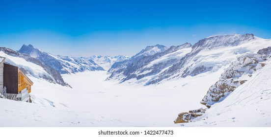 The Aletsch glacier Panorama, seen from the Jungfraujoch, is Europe's largest glacier. Landscape of Snowy Mountain of Swiss Alps. Gigantic Mountain of Switzerland. Scenic View of Mountain Landscape.