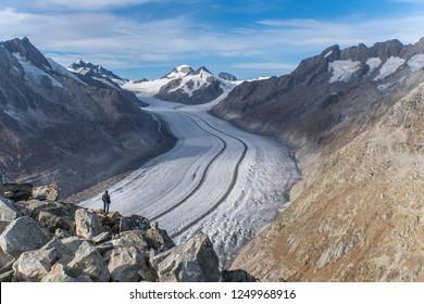 Aletsch Gletscher - larges glacier of the Alps in Switzerland