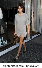 Alexa Chung arrives at the Mulberry catwalk show as part of London Fashion Week SS13, Claridges, London. 18/09/2012 Picture by: Steve Vas