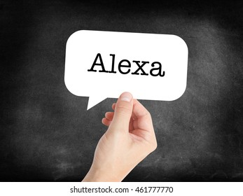 Alexa written in a speechbubble