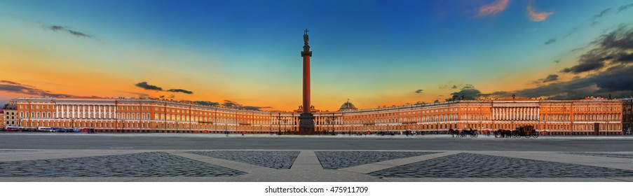 Alexander Column and General Staff on Palace Square, Saint Petersburg, Russia