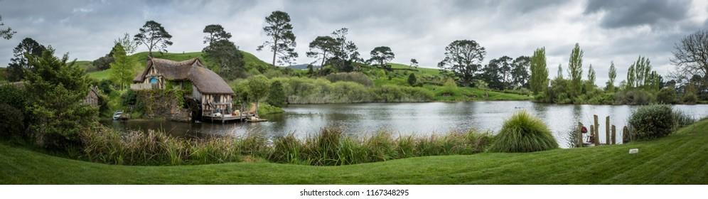 Alexander Farm, Matamata, New Zealand - November 19th, 2017: The Hobbiton Movie Set