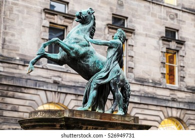 Alexander The Great and Bucephalus. Bronze statue (1883) located in front of Edinburgh's City Chambers.
