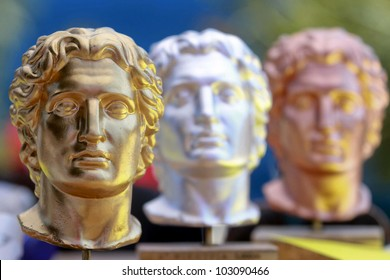 Alexander the Great statues in gold,silver and bronze