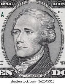 Alexander Hamilton face on ten dollar bill macro, 10 usd, united states money closeup