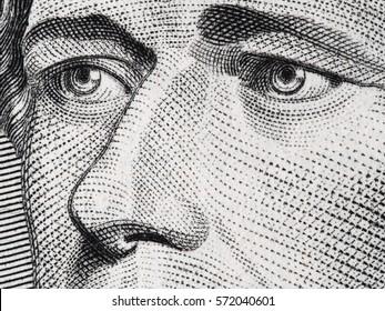 Alexander Hamilton face on us ten dollar bill extreme macro, 10 usd, United States money closeup