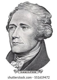 Alexander Hamilton face portrait on US 10 dollar bill closeup isolated, United States of America money close up
