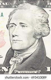 Alexander  Hamilton portrait on dollar bill  closeup