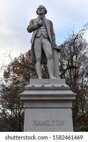Alexander Hamilton statue in Central Park, New York City. It is carved from solid granite by Carl H. Conrads, was donated to Central Park in 1880 by one of Alexander Hamilton's sons, John C. Hamilton.