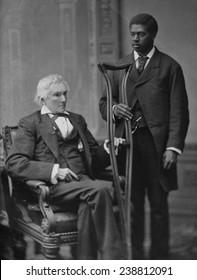 Alexander Hamilton Stephens, Vice President of the Confederate States of America, (with colored man attendant) ca. 1865-1880, Mathew Brady Studio
