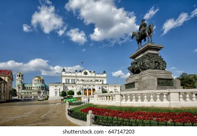 "Alexander II monument, Bulgarian parliament and Cathedral Alexander Nevsky. ""Togetherness makes the force"" is the motto of Bulgarian parliament."
