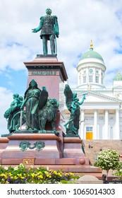 Alexander II Monument (erected in 1894, sculptor Walter Runeberg) on Senate Square in Helsinki, Finland