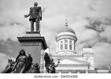 Alexander II Monument on Senate Square in Helsinki, Finland. Was erected in 1894, sculptor Walter Runeberg. Black and white image