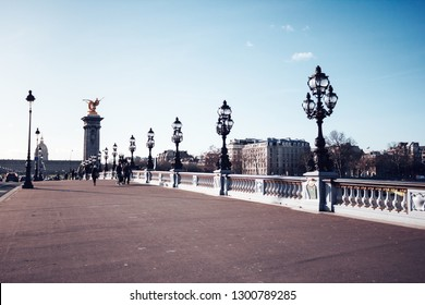 The Alexander III Bridge across Seine river in Paris, France, at day time