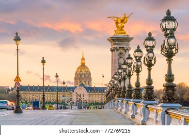 The Alexander III Bridge across Seine river in Paris, France at sunrise