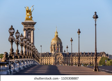 The Alexander III Bridge and the Invalids Palace in Paris