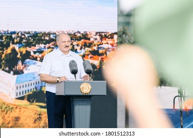 Alexander Lukashenko speaks at a rally in his support, Grodno, Belarus August 22, 2020