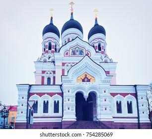 Alexander Nevsky Cathedral Building in Tallinn, Estonia in winter