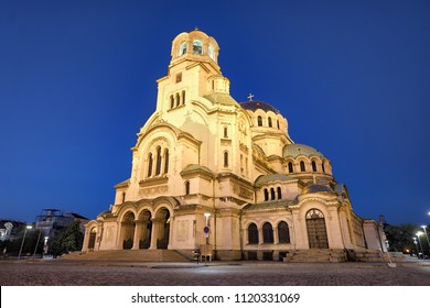 Alexander Nevsky Cathedral by night in Sofia, Bulgaria