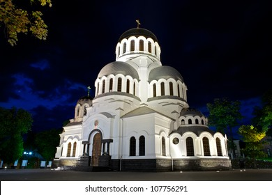 Alexander Nevsky Cathedral in Kamianets-Podilskyi, Ukraine, at night