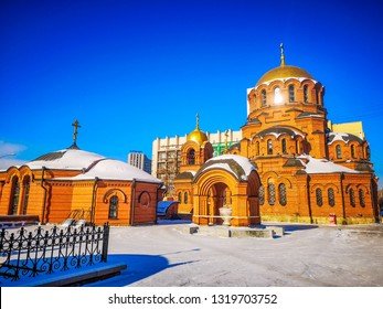 Alexander Nevsky Cathedral is the Orthodox Cathedral in Novosibirsk, Russia. Named in honor of Saint Alexander Nevsky. Sunny day in winter Siberia.