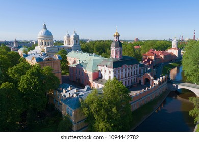 The Alexander Nevsky Lavra on a sunny May day. St. Petersburg, Russia (aerial photography)