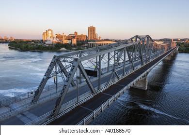 Alexandra Bridge and Gatineau panorama. Gatineau, Quebec, Canada.
