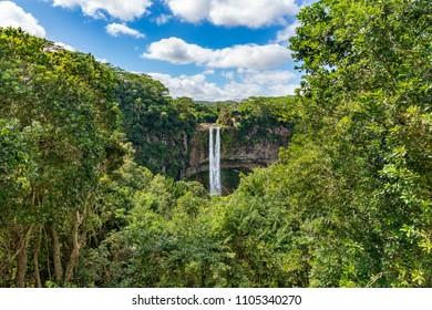 The Alexandra falls in the jungle of Mauritius island.