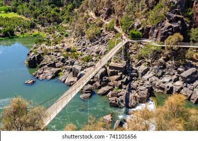 Alexandra Suspension bridge at Cataract Gorge's First Basin - Launceston, Tasmania, Australia