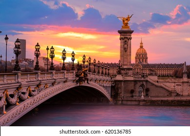 Alexandre III Bridge at amazing sunset - Paris, France
