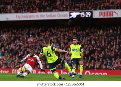 Alexandre Lacazette of Arsenal shoots at goal - Arsenal v Huddersfield Town, Premier League, Emirates Stadium, London (Holloway) - 8th December 2018