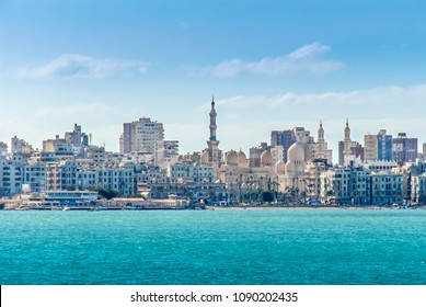 Alexandria, Egypt, 21 February 2018: View of Alexandria harbor, buildings