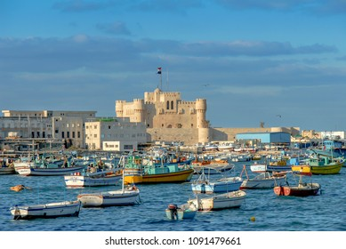 Alexandria, Egypt, 21 February 2018: Qaitbay Citadel and sandals