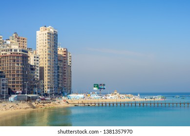 Alexandria, Egypt- April 29 2018: Mediterranean coast at Miami district, Alexandria city, with very tall buildings by the seaside at a sunny summer day