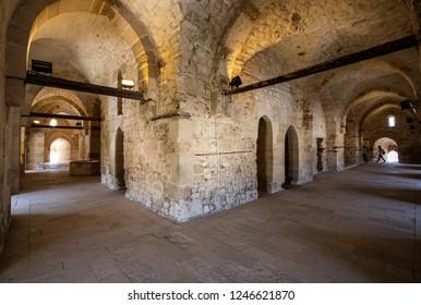 Alexandria / Egypt - December 02 2018: Interior view of the Citadel Qaitbay (Qaitbay fort) built in the 1480's by Sultan Qaitbay