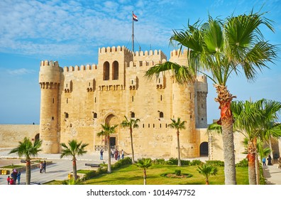 ALEXANDRIA, EGYPT - DECEMBER 17, 2017:  The rampart walk in Qaitbay citadel is the perfect choice to enjoy the castle from different angles, on December 17 in Alexandria.