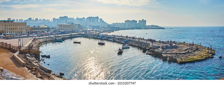 ALEXANDRIA, EGYPT - DECEMBER 17, 2017: Panorama of the Western Harbor from ramparts of Qaitbay citadel, on December 17 in Alexandria.