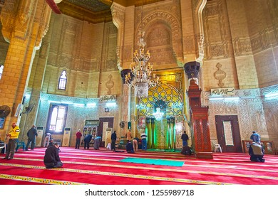 ALEXANDRIA, EGYPT - DECEMBER 17, 2017: The complex patterns of mihrab in Abu al-Abbas al-Mursi Mosque, famous for its complex arabesque ornaments, on December 17 in Alexandria.