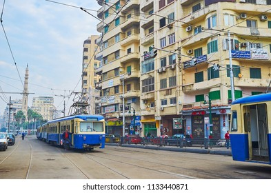 ALEXANDRIA, EGYPT - DECEMBER 18, 2017:  The city center is the best place to enjoy the vintage tram ride or watch different retro types of tram cars, on December 18 in Alexandria.