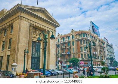 ALEXANDRIA, EGYPT - DECEMBER 18, 2017:  The facade of Chamber of Commerce faces Omar Lotfy street and neighboring with Italian styled historical mansions, on December 18 in Alexandria.
