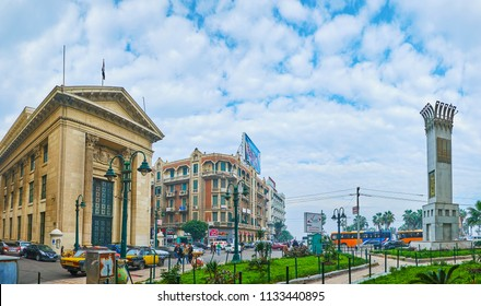 ALEXANDRIA, EGYPT - DECEMBER 18, 2017:  Panoramic cityscape with Chamber of Commerce and small garden in Omar Lotfy street, on December 18 in Alexandria.