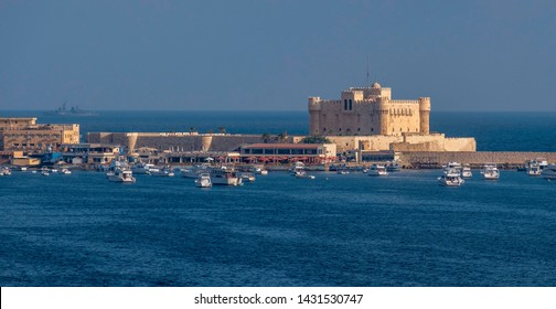 ALEXANDRIA, EGYPT - JUNE 13. 2019: The Citadel of Qaitbay (The Fort of Qaitbay), fortress erected on the exact site of the famous Lighthouse of Alexandria