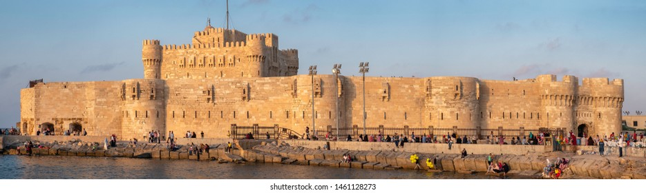 ALEXANDRIA, EGYPT - JUNE 13. 2019: Egyptians enjoying the holliday at the Citadel of Qaitbay (The Fort of Qaitbay), fortress erected on the exact site of the famous Lighthouse of Alexandria