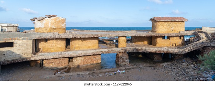 Alexandria, Egypt - May 13 2018: Deteriorated cabin of Egyptian formal president Muhammad Anwar el-Sadat who used to spend his summer holidays in, located in Montaza Park by the the Mediterranean Sea