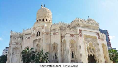 ALEXANDRIA, EGYPT - October 9, 2015 : View of Abu al-Abbas al-Mursi Mosque. Famous Egyptian mosque in the city of Alexandria